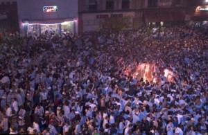 Chapel Hill, one of MANY celebrations for UNC beating dook