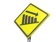 Down Bar Graph Yield Sign White Background